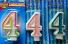 Number #4 Glitter Sparkle 4TH Birthday Candle Multicolour/ Pink/ Blue Cake Party
