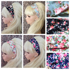 NEW VINTAGE FLORAL FLOWER PRINT JERSEY STRETCH MULTI USE WIDE HEAD HAIR BAND