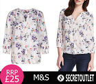 New M&S COLLECTION New Ladies 3/4 Sleeve Floral Top Blouse