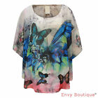 Ladies Womens Chiffon Poncho Butterfly Print Studded Batwing Cape Top Size 8-16