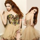 Womens Short Evening Dress Prom Sexy V Collar Rhinestone Strapless Sequin Bride