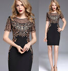 High quality women's elegant embroidery Slim Proms Cocktail party evening dress