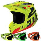 FOX Motocross / MTB MX Helm V2 RACE - blau-gelb + MX-2-Bude Brille Motocross End