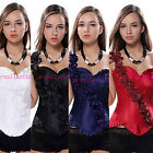 Gothic Lace Up Boned Jacquard Corset Wedding Top with Rose Single Shoulder Strap