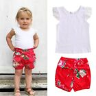 2Pcs Toddler Kids Baby Girl Lace Top Shirt Bowknot Floral Shorts Outfits Clothes