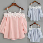 TRENDY Womens Summer Off Shoulder Casual Tops Straps Loose Blouse Ladies T Shirt