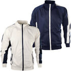 Mens High Neck Contrast Panel Full Zip Sweat Jacket Gym Track Top Size