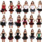 Sweetheart Satin Overbust Straps Corsets Padded Cup + Party Tutu Skirt Dress