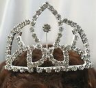 NEW Girls #0165 Pageant Silver Clear Rhinestone hair comb Small 2.5 inch Tiara