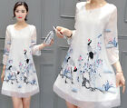 women's Ethnic embroidery crane Floral Casual Slim Cocktail party evening dress