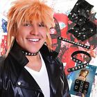 70s 80s Adults Punk Rock Rocker Collar Gloves Fancy Dress Outfit Accessory Set