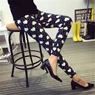 Women Printed Plus Size Guitar Plaid Thin Nine Pant Trousers Laggings Gr074