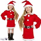 Girls Father Christmas Santa Mrs Claus Kids Fancy Dress Costume Outfit with Hat