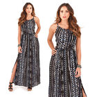 Pistachio Womens Designer Hand Printed Aztec Maxi Ladies Strappy Summer Dress