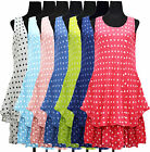 New Womens Ladies Italian Spotty 2Layered Cotton Linen Lagenlook Tunic Top Dress