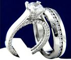 Sterling Silver Womans Engagement Mans Wedding Stainless Steel Bridal Ring Set