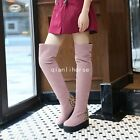 Womens Faux Suede Color Stitching Hidden Heel Pull On Riding Over The Knee Boots