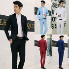 New Men's Formal Slim Fit Suit One Button Solid Color Blazer Casual Jacket Pants
