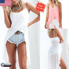 Women Chiffon Vest Tops Sleeveless Blouse Ladies Casual Tank Tops Long T Shirt