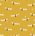 MORI DOGS by DASHWOOD - MUSTARD YELLOW CUTE JAPANESE DACHSHUNDS quilting sewing