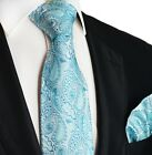 Blue Glass Paisley Silk Tie and Pocket Square