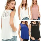 Women Summer Lace Vest Top Sleeveless Blouse Casual Tank Tops T-Shirt Size 6-18