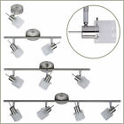 1 2 3 4 Spotlight Wall or Ceiling Bar Light Fixture Fitting Satin Nickel & Glass