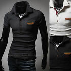 New Fashion Mens Stylish Modern Patch Polo Pique Collar Casual T-Shirts Top W255
