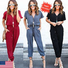 Women Short Sleeve Clubwear Playsuit Bodycon Party Jumpsuit Romper Trousers Hot