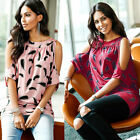 Women Ladies Cold Shoulder Loose Tops Blouse Casual Short Sleeve T-Shirt Pirnted