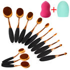 10pcs professional makeup brushes set oval cream