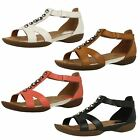 Ladies Clarks T-Bar Leather Flat Hook & Loop Sandals Style - Raffi Scent