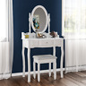Nishano Dressing Table 1 Drawer Stool White Mirror Bedroom Makeup Desk Dresser