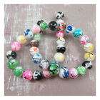 ROUND MIXED COLOURED BLACK FLECK GLASS BEADS *4 SIZES* BEADING JEWELLERY MAKING