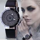 Luxury Women Watch Bling Crystal Dial Quartz Analog Leather Bracelet Wrist Watch