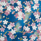 100% Cotton Fabric - Japanese Kimono Blue Floral - Rose & Hubble - Cut from Roll