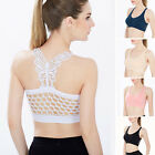 Women Summer Sexy Lace Hollow Sport Yoga Bra Workout Tank Top Fitness Padded New