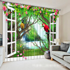3D Parrot wood7 Blockout Photo Curtain Printing Curtains Drapes Fabric Window AU
