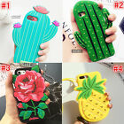 Tide Cute pineapple roses cactus SIlicone Soft Case Cover for iPhone 8 7 6S plus
