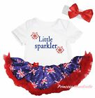 Little Sparkler Queen's Day White Cotton Bodysuit Blue UK Flag Baby Dress NB-18M