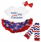 Daddy Little Firecracker White Bodysuit Blue UK Flag Baby Dress Leg Warmer 0-18M