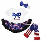 American Star Bow 4th July White Bodysuit USA Flag Baby Dress Leg Warmer NB-18M
