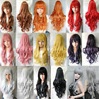 """Multicolor 32"""" Lady Anime Long Curly Wavy Synthetic Hair Party Cosplay Full Wig"""