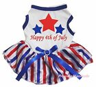 Happy 4th July Star White Cotton Top RWB Striped Skirt Pet Dog Puppy Cat Dress