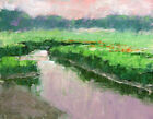 Original Oil Painting Landscape Signed Canvas Afternoon Wetland View TW Nelson