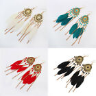 Vintage Women Girl Goose Feather Tassel Bohemia Jewelry Drop Dangle Earrings