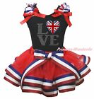 Queen's Day UK Flag Heart Love Black Top RWB Striped Satin Trim Girl Skirt NB-8Y