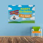 PERSONALISED AEROPLANE HAPPY BIRTHDAY PARTY PHOTO BANNER COLOURFUL ANY YOUNG AGE