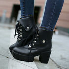 Retro Women Round Toe British Rock Girls Ankle Boots Lace Up Warm Fashion Shoes