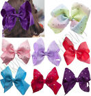 "8"" Inch Large Crystal Diamante Rhinestone Grosgrain Ribbon Bow Hair Clip Girls"
